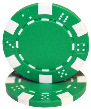 "Image de Jeton de poker ""Dice"" 11.5gr (Vrac) - Vert"