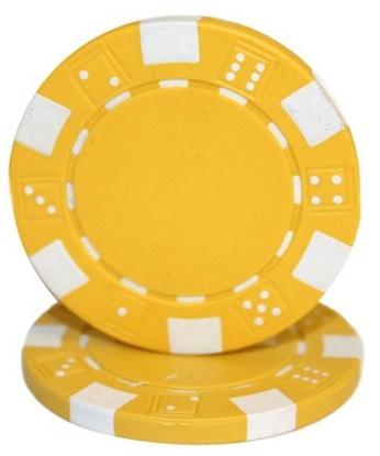 """Image de Jeton de poker """"Dice"""" 11.5gr (Vrac) - Jaune"""