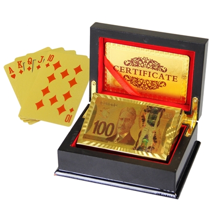 Image de 10040 - Decorative golden plated playing card 24K with wooden box